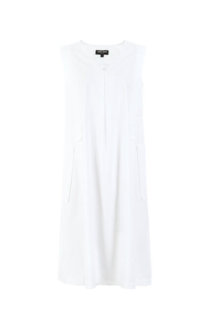 Vero Moda Women's V-neck Sleeveless 100% Cotton Pure Dress |31927A502, White, large