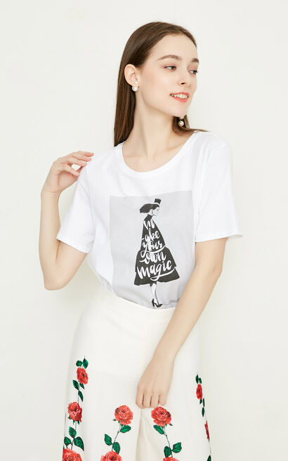 Vero Moda Women's 100% Cotton Peron Letter Print Round Neckline Short-sleeved T-shirt|318201586, White, large