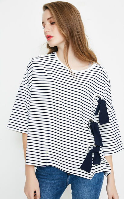 DRAMA STRIPES 3/4 TOP(NC), White, large