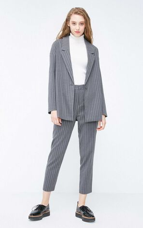 Vero Moda 2018 Women's Autumn Loose Fit Vertical Stripe Single-button Blazer