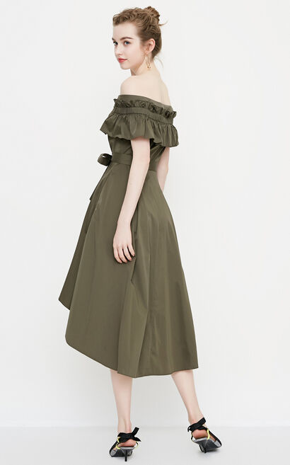 Vero Moda Ruffled Sleeves Irregular Hem Boat Neck Dress|31827B522, Green, large