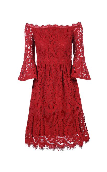 Vero Moda women's 3/4 Flare sleeves lace dress|31817C519, Red, large