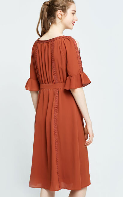 Vero Moda Off-shoulder Long Dress|31726Z514, Brown, large