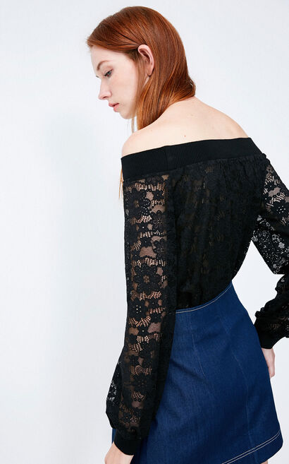 Vero Moda 2018 Autumn Off-shoulder Elastic Edge Lace Tops , Black, large
