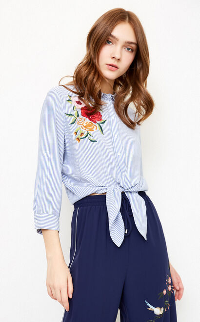 Vero Moda Women's 3/4 Sleeves Embroidered Striped Shirt|318131541, Blue, large
