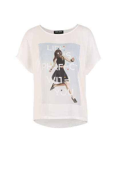 Vero Moda Printed Loose T-Shirt|317201518, White, large