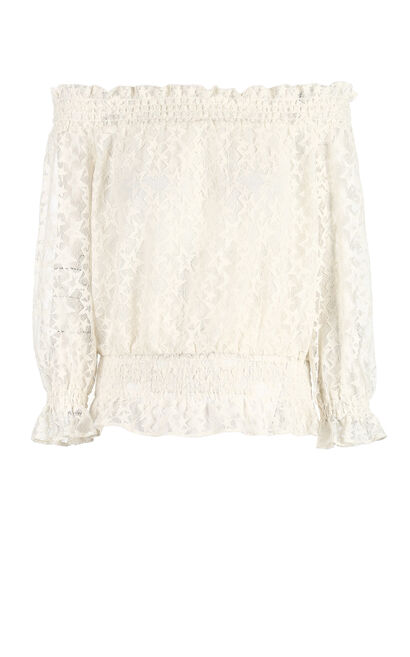 Vero Moda 2019 Elastic Boat Neck Elastic Waist 3/4 Sleeves Laced Tops |319130506, White, large