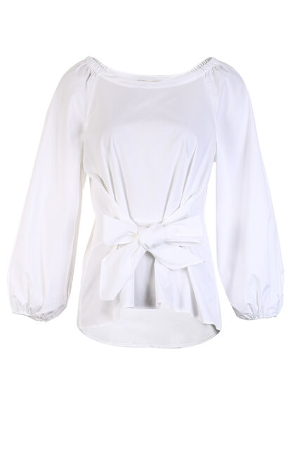 Vero Moda Boat Neckline 3/4 Puff Sleeve Tie-up Shirt, White, large
