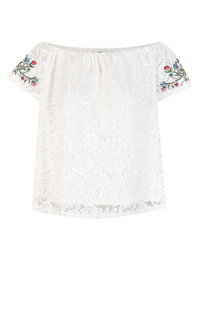 Vero Moda Women's Lace Embroidery Print Boat Neck Short-sleeved T-shirt Free Shipping 318201568|318201568, White, large