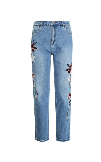 Vero Moda Women Cotton Flower Embroidered Jeans 318149519, Blue, large
