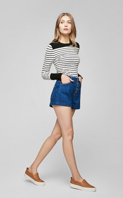 Vero Moda Buckle Fly Washed Roll-up Denim Shorts 317143501, Blue, large