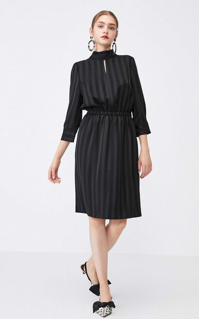 Vero Moda Women Striped Cut-out Elasticized Waist 3/4 Sleeve Dress 31937C545, Black, large
