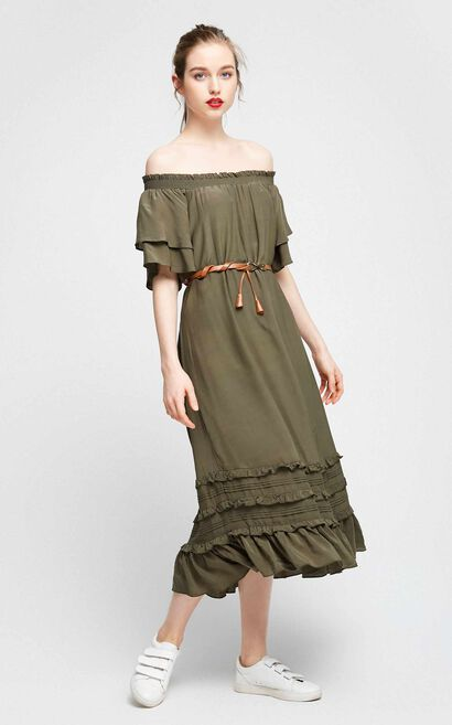 Vero Moda Women's Boat Neck Two-tiered Sleeves Layered Dress|31727B534, Green, large