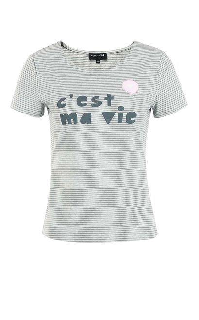 Vero Moda Letter Print Striped Short-sleeved T-shirt 317201627, Army Green, large