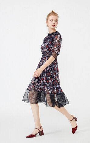 Vero Moda Round Neckline Print Pattern Dress|31936Z525