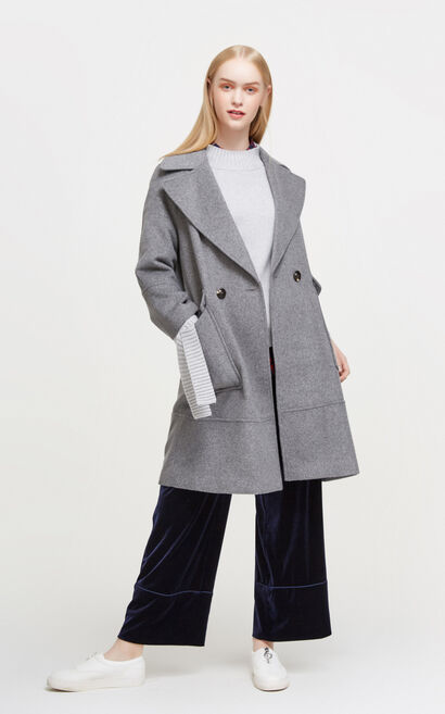Vero Moda New Arrival Regular Fit Drop-shoulder Sleeves Woolen Overcoat|317427507, Grey, large