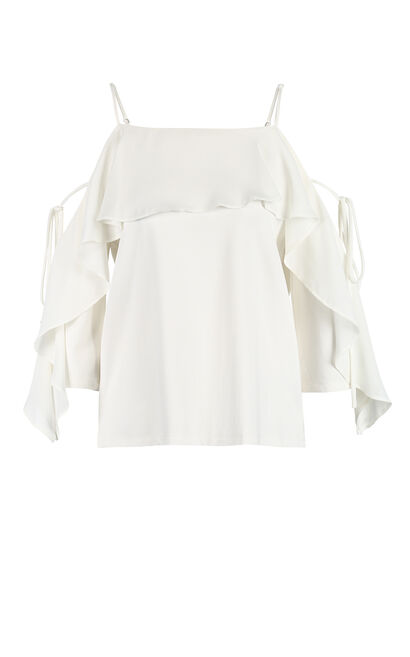 Vero Moda women's ruffled strap t-shirt|318230517, White, large