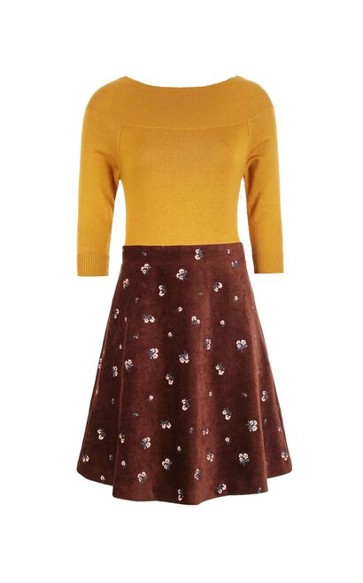 Vero Moda Turn-down Collar 3/4 Sleeves Floral Embroidery Knitted Dress|31747C509, Dark Brown, large