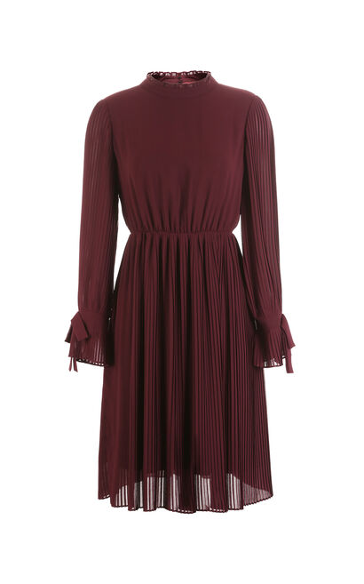 Vero Moda women's bow frilled pleated A-line dress 31817D501, Red, large