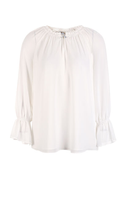 Vero Moda Lace crystal round collar puff-sleeved chiffon shirt|317358509, White, large